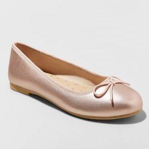NWT Girls Rose Gold Ballet Flats